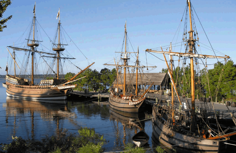 Visitors to the Jamestown Settlement, near Williamsburg, can tour replicas of the ships John Smith brought to Jamestown in 1607, the Susan Constant, Godspeed, and Discovery.
