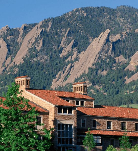 The University of Colorado's Wardenburg Health Center is framed by the Flatirons, mountain slopes challenging enough to attract Everest climbers.