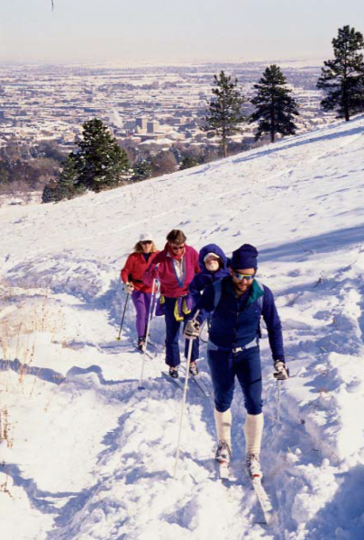 Cross-country skiers ascend the slopes above Boulder.