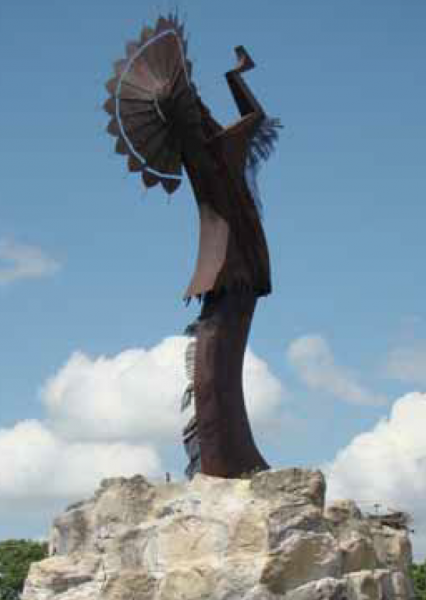 """""""Keeper of the Plains"""" stands at the confluence of the Arkansas and the Little Arkansas rivers."""