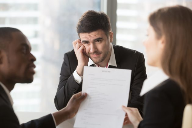 Worried job candidate waiting hiring decision